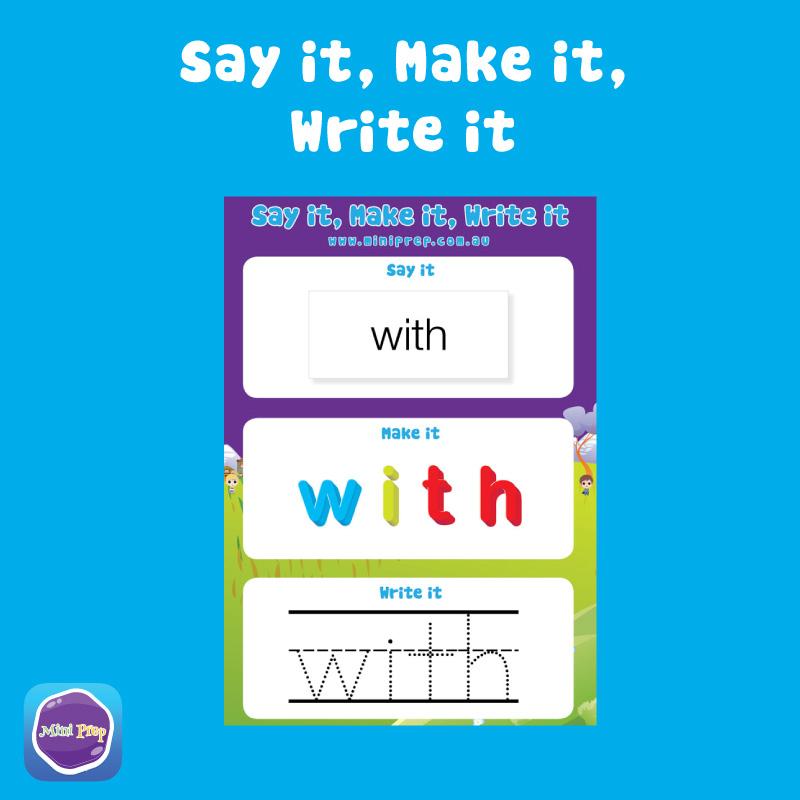 Mini Prep Say it, Make it, Write it worksheet